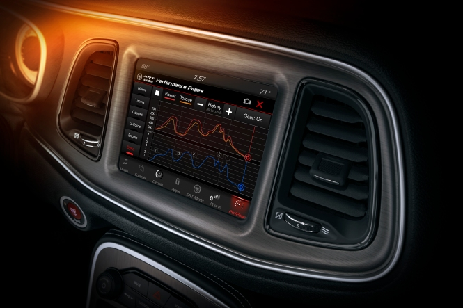 The Challenger SRT Demon's Performance Pages feature a new real-time Dyno page, which displays instantaneous power and torque readings displayed on the 8.4-inch Uconnect touchscreen.