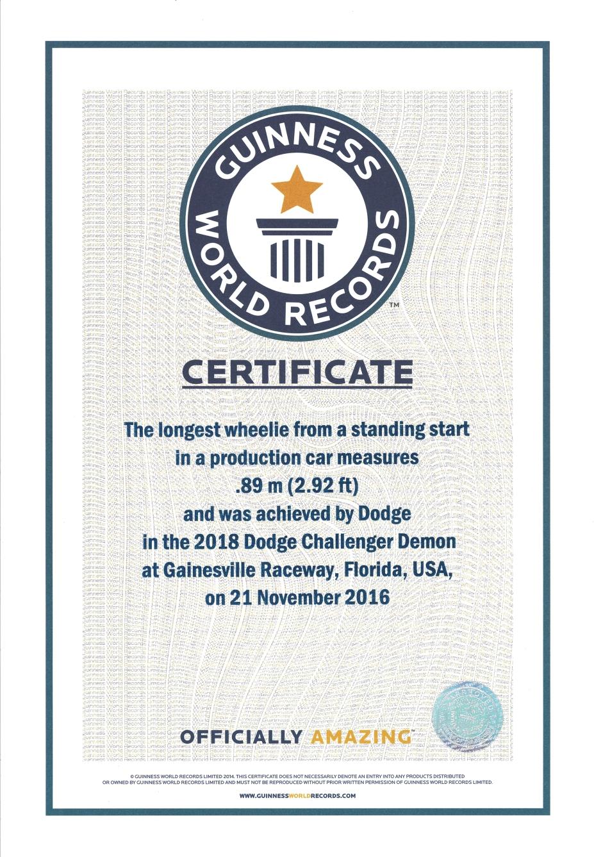 Guinness World Records certification of the 2018 Dodge Challenger SRT Demon record.