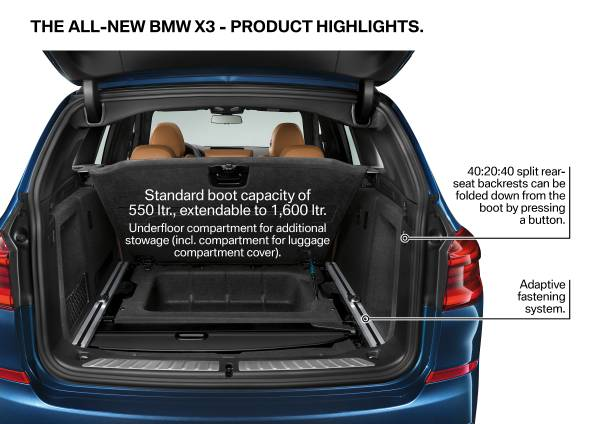 2018 BMW X3 Storage Space
