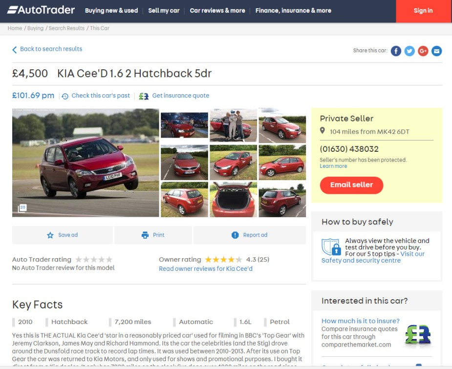 Top Gear Kia Ceed Reasonably Priced Car Listing